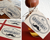 Will You Be My Groomsman? Gift Tag Mustache, Antlers, Bow Tie, Beer Mugs, Dice, or Guns