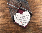 Sew or Iron On Patch ON SALE Groom Patch or Dad Tie Patch, Father of Bride, 2.25 Heart Shaped Patch, Dot Border, Choose Message and Font