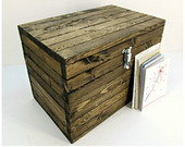 Rustic Wooden Storage Box with Lockable Latch Small Wood Chest Medium Accessory Trunk, Small Toy Box, Wedding Card Box, Memorial Trunk