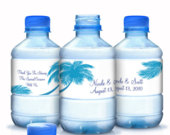 Palm Tree Wedding Water Bottle Labels 10 Beach Themed Bottle Labels Beach Themed Wedding Decor Bridal Showers, Wedding, Anniversary