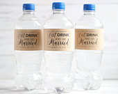 Eat Drink and be Married Wedding Water Bottle Labels, Wedding Welcome Bag, Personalized Favors, Rustic Kraft Labels