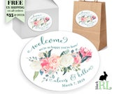 PRINTED Wedding Welcome Box Favor Stickers / Gift Bag Label / Hotel Gift Basket / 4.25 x 3.25 Ovals / Spring Floral Spray
