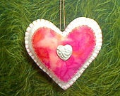 White/Peach Felt Heart Ornament Valentines Day Spring Decor Holidays Gift Idea Wedding Bridal Party Favor Tree Ornament 1