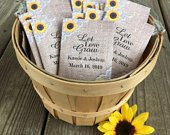 Personalized seed packet wedding favors with Sunflower Burlap and lace