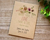 Floral watercolor wedding favor, personalized seed packet for any special event like wedding, bridal shower, engagement party, seed included