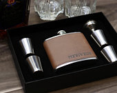 Groomsmen Gift Flask Set Personalized Engraved Box Set Women Best Man Bridesmaid Bachelor Party Proposal Wedding Favors Dark Brown Leather