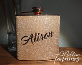 Personalized Name Glitter Copper Stainless Steel 6 oz Liquor Hip Flask Script Font 1 Gifts for Bridesmaids, Birthday, Wedding Favor