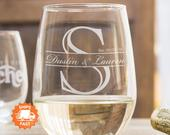 Personalized Stemless Wine Glasses Etched Wine Glasses are the Best Gifts for Couples, Monogrammed Wine Glasses, Custom Etched Wine Glass