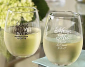 Set of 12 Personalized 9oz Wedding Words Stemless Wine Glasses Personalized Glassware Wedding Favors Numerous Design Choices