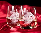 Engraved Wine Glass / Wedding Gift / Anniversary Gift / Gifts for Her / Custom Photo Gifts / Set of Wine Glasses