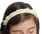 First Communion Headband with Babys Breath. Flower Girl Hair Piece, Wedding, Confirmation, Baptism.