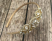 Flower girl headband, Rhinestone headband, gold headband, wedding headband, dressy headband, formal headband, halo, baby headband,