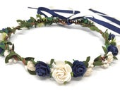 Flower crown bachelorette, flower crown blue, flower girl crown navy blue, flower girl headband, flower heapiece, flower crown adult