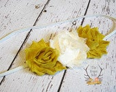 Mustard Yellow Ivory / Cream Soft Chiffon Headband. Preemie Wedding Flower GIrl Rustic Wedding Chic Fall Ivory Petite