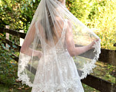 Wedding veil, bridal veil, wedding veil ivory, wedding veil lace trim, beaded lace veil, beaded veil