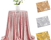 48 Sparkly Sequin Tablecloth Round Glitter Table Cover Wedding Party Event Banquet Home Table Cover Decoration Cover Tableware