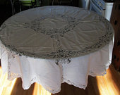 1 or more, Round Tablecloth, Battenburg Lace, Battenburg Tablecloth, Lace Tablecloth, Vintage Tablecloth, White Tablecloth, White Linens