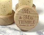 Personalized Wine Stopper, FREE Organza Bags, Mr. and Mrs. Engraved Wine Stopper, Wine Cork, Wedding Favor, Wedding Gift, Anniversary Gift