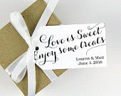 Wedding Favor Tag Love is Sweet Enjoy some Treats Bridal Shower Sweet Wedding Favor Wedding Favor Ideas Party Favor Tags LARGE