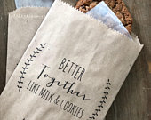 Wedding Cookie Bags Candy Buffet Sacks Custom Wedding Favors Recycled Kraft Paper Personalized Printed Bag Take Home Bag