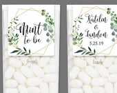 Wedding Favor Stickers for Tic Tac Mint to Be Favors Wedding Shower Favor Label Leaf and Branch Wreath Foliage, Geometric Shape GEOG18