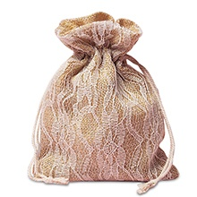 Cord Ivory Lace Burlap Bags - 5 X 6-1/2 - Fabric Bags by Paper Mart