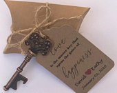 Wedding Favors Skeleton Key Bottle Opener with Personalized Tag and Kraft Pillow Favor Box