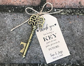 100 Skeleton Key Bottle Openers Customized Tags Personalized Printed Tags Antique Key Wedding Favors Thank You for Being a Key Part