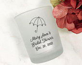 12 pieces per set Umbrella Design Personalized Printed Tealight Candle Holder Frosted Glass Finish MG2A Party Favors