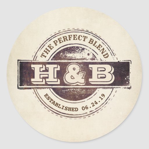 The Perfect Blend Wedding Coffee Favors Classic Round Sticker