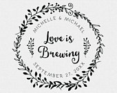 Coffee Sleeve Stamp, Love is Brewing Stamp, Wedding Favor Stamp, Stamp for Wedding Favor Gift Tags, Personalized, Custom (T800)