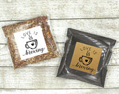 Coffee or Tea Favor Stickers for Wedding, Party, Shower Love is Brewing, square stickers with optional favor bags, gift for guests