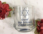 12 Pieces per set Star of David Design Personalized Printed Coffee Mug MG3C Clear Glass Coffee Mug Party Favors