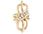 Vintage Infinity Knot Ring 14k Yellow Gold Cocktail Statement Estate Jewelry Gift For Her