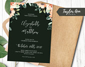 Wedding Invitation Black Floral Instant Download 5x7 DIY Personalize Wedding Invite Editable Template Wedding Stationary Save the Date