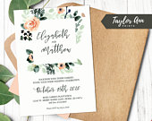 Wedding Invitation Watercolor Floral Instant Download 5x7 DIY Personalize Wedding Invite Editable Template Wedding Stationary Save the Date
