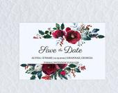 Christmas Wedding Save the Date Winter December Wedding DIY Red and Green Floral Save the Date for Wedding Printable Template A10