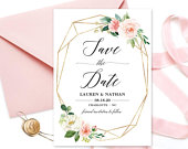 Blush Garden Floral Save the Date Template, Printable Save the Date Card, Wedding Save the Date, Editable Text, Blush Pink, Gold, VW25