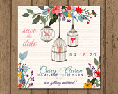 Bird Cage Flowers Save the Date DIGITAL file available