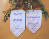 Mother of the Bride, Father of the Bride Wedding Handkerchief, PRINTED Lace handkerchiefSet of 2 CUSTOMIZED hankiesCAC158