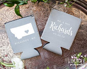 Montana Neoprene Can Coolers, Wedding Can Cooler, Any State, Personalized Wedding Favors, Reception Favors, State Wedding Favor, 1813