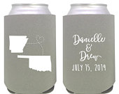 personalized can cooler / wedding favor / wedding can cooler / custom can cooler / custom wedding favors / custom state wedding / homestate