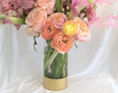 Gold / Wedding Vase / Cylinder Vase / Wedding Decor / Personalized Vase / Tall Vase / Tall Wedding Centerpiece / Monogram /