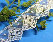 2 White Mesh Embroidered Lace Trim/floral lace trim/heirloom sewing/lace for DIY Dress/bridal veil. (LC20121)