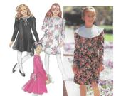 UNCUT Simplicity 7542 1990s Girls Dress Sewing Pattern, Size 710, Knee Length Flared Dress, Long Sleeves Collar Variations, Lace Trim