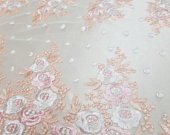 Baby Pink Coral Bridal Wedding Floral Mesh Lace Fabric by Yard