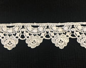 Vintage White Lace Trim or Edging, 11/16 inch X 122/3 yards, beautiful cotton lace, unused, perfect for sewing, crafting, wedding.