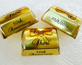 300 Gold Foil WEDDING ANNIVERSARY Theme wrappers/stickers that fit your Hershey Nugget Chocolates (Personalized Favors) for any party/event!