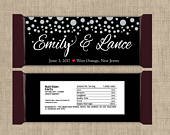 Large Personalized Silver Confetti on Black Hershey Candy Bar Wrappers Wedding Candy Bar Wrapper, Bridal Shower, Birthday (Set of 12)