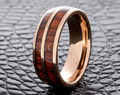 Tungsten Wedding Ring Tungsten Ring Rose Gold Wood Inlay Ring 8MM Men Women Tungsten Wooden Ring Wedding Band Promise Ring Free Engraving